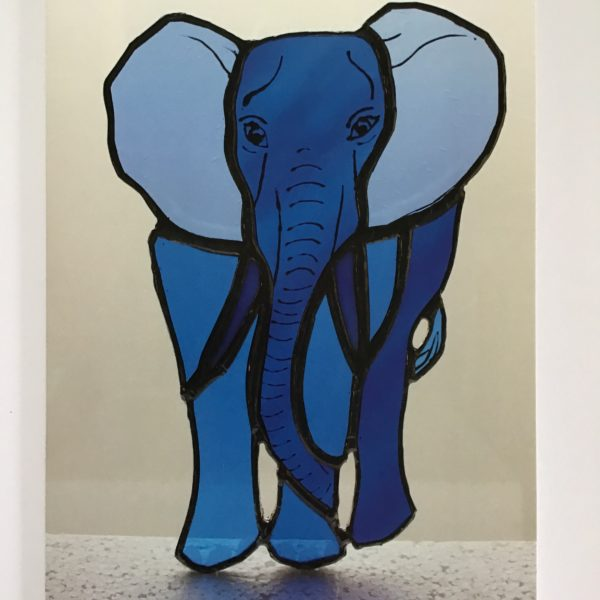 Sarah Davis Glass, blue Elephant stained glass greetings card