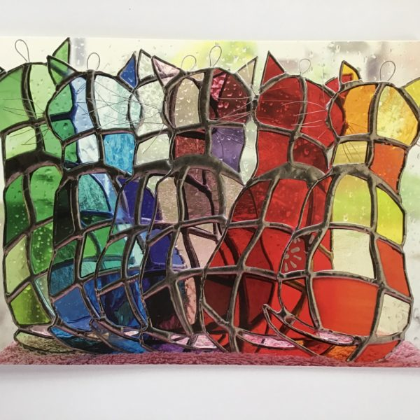Sarah Davis Glass multicolour Window Cats stained glass hangings greetings card