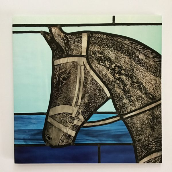 Sarah Davis Glass, Whisper grey horse sgraffito painted stained glass greetings card