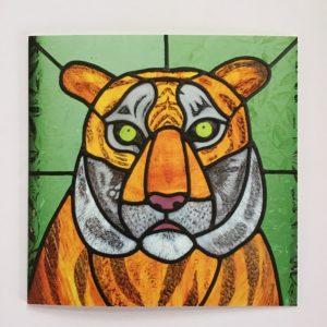 Sarah Davis Glass, Stained glass greetings card Tiger Burning Bright