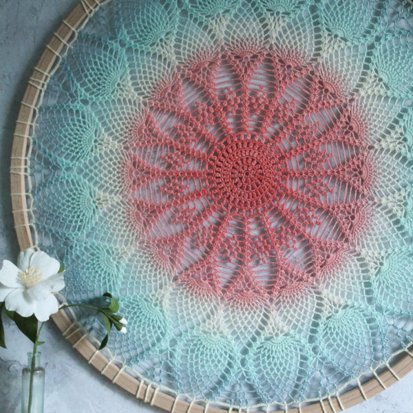 Pineapple Fibre Art, Beautiful big hoop in blue, turquoise and coral