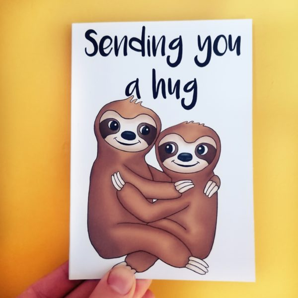 Sending you a hug card with hugging sloths. By Peach and Mimi