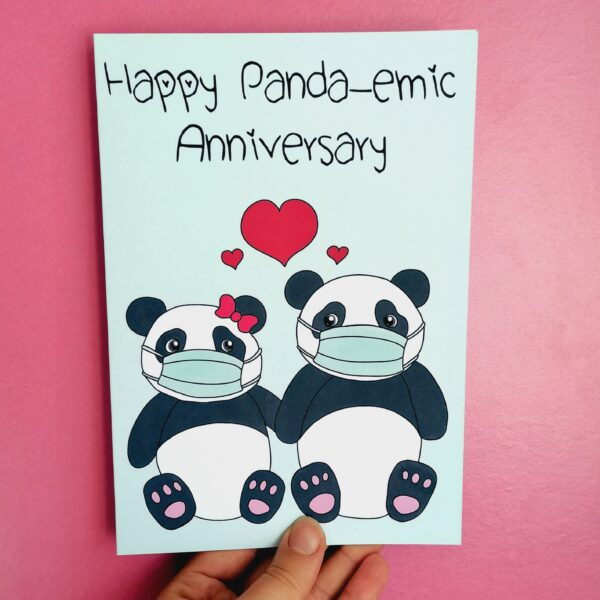 Peach and Mimi, Happy Panda-emic Anniversary Card, Pale teal background with digitally illustrated Panda Couple wearing masks