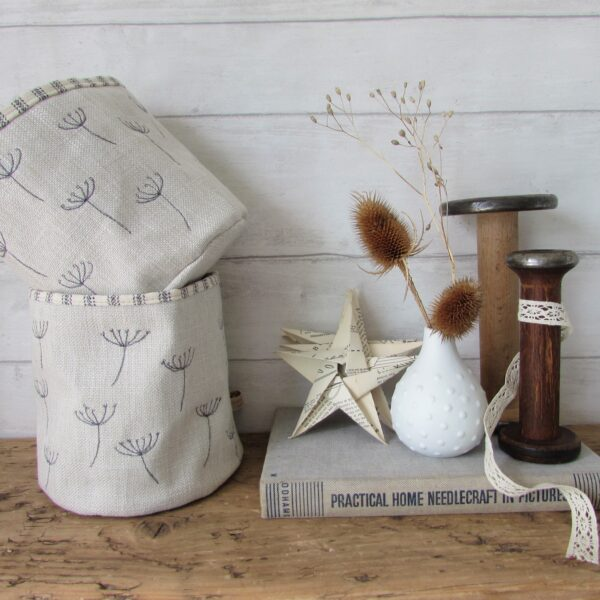 Seed head embroidered fabric pots