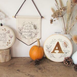 Countryside inspired embroidered collection of products from Laced Wing Designs