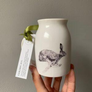 Running Hare Ceramic Jug/Bud Vase