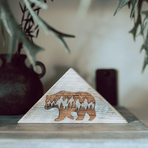 Fern and thistle, mini triangle bear block