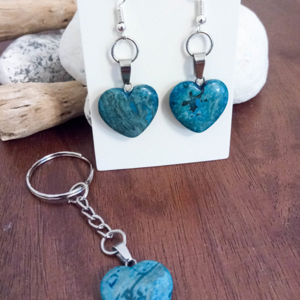 Knots and Treasures, Crazy Lace Agate Earring and Keyring Set