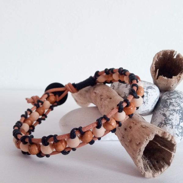 Knots and Treasures, Mens Leather and Bead Bracelet