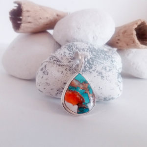 Knots and Treasures, Spiny Oyster Copper Turquoise Sterling Silver Necklace