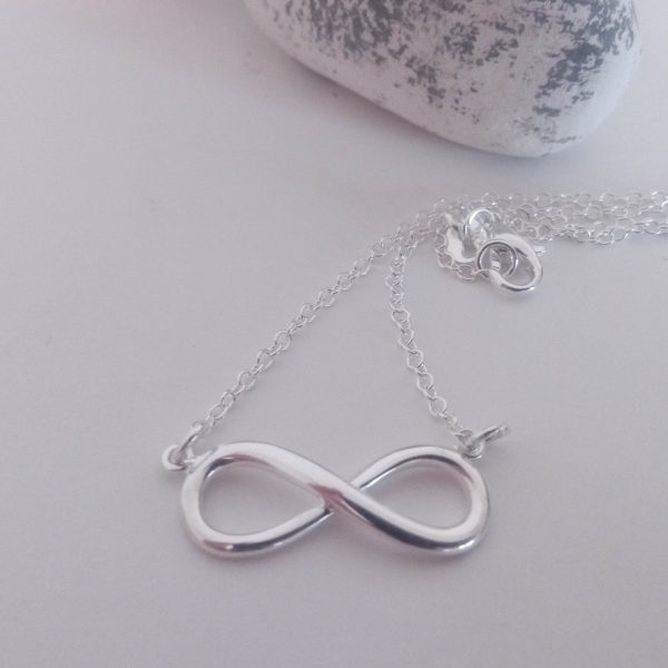 Knots and Treasures, Sterling Silver Infinity Necklace