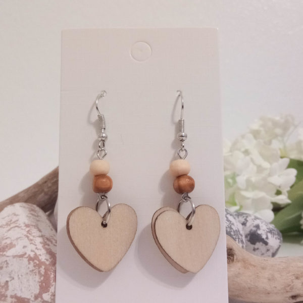 Knots and Treasures, Wooden Heart Earrings