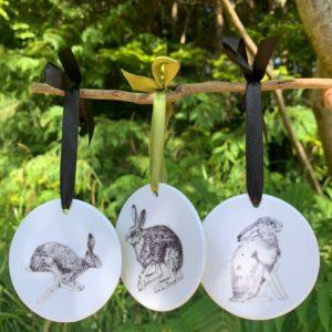 Lucy Jane Illustrations, ceramic hanging decorations. Pedddle
