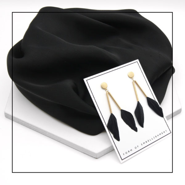 Midtown Earrings by Form of Embellishment - Black Feather and Matte Gold Stud Earrings in Minimal Packaging