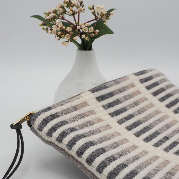 Hand-woven merino wool zipper pouch bag