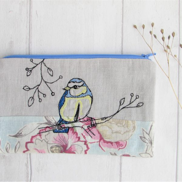 Blue Bird Embroidered Pouch - Laced Wing Designs