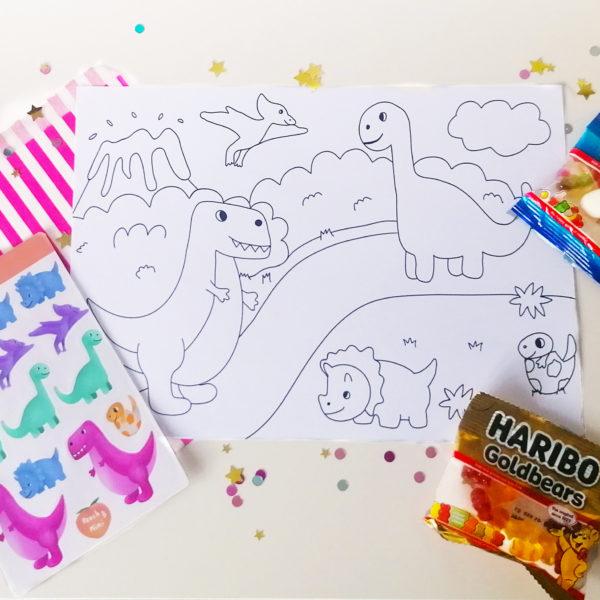 Peach and Mimi, Little box of joy, Dinosaur Colouring Sheet, Dinosaur Sticker Sheet and a sweet treat