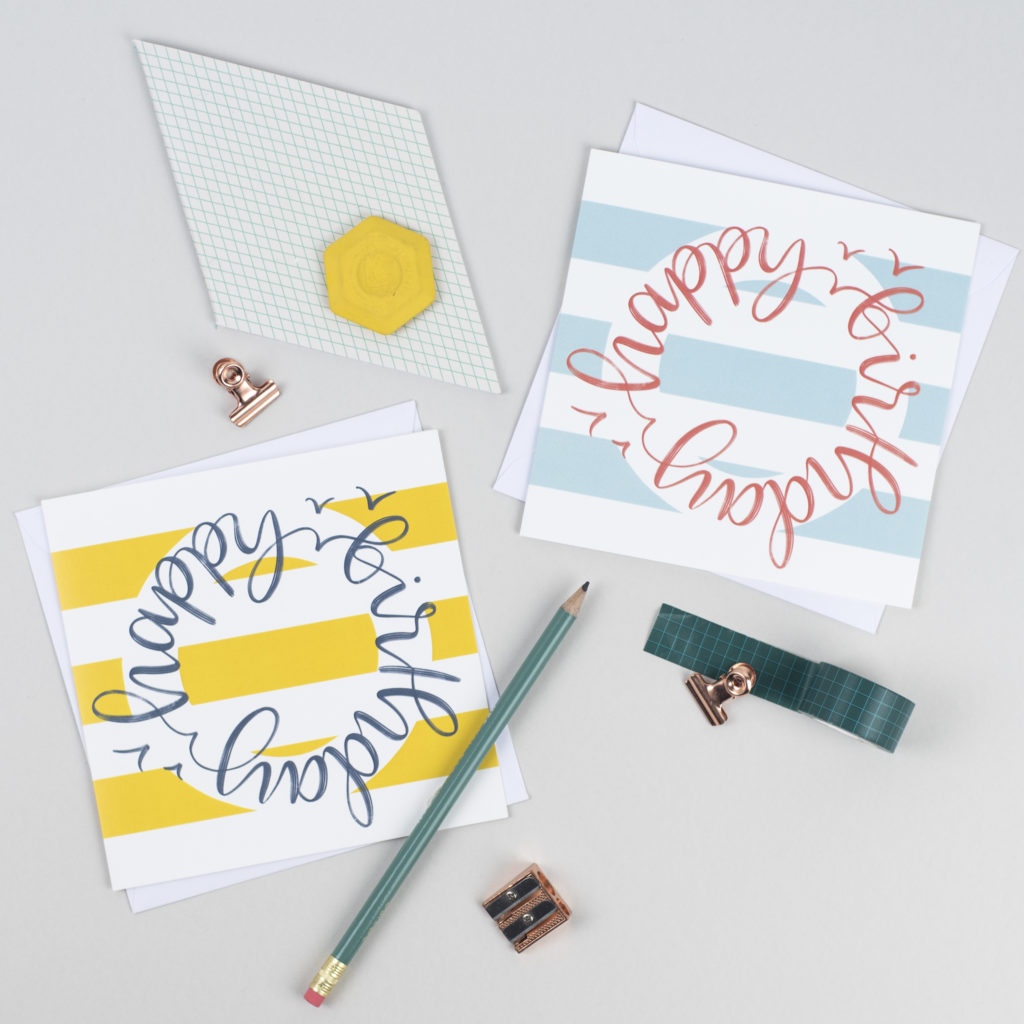 Nautical yellow and blue birthday cards by Rock Paper Swan