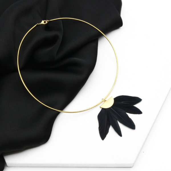 Rockefeller Collar by Form of Embellishment - Black Feather Fan Statement Choker Necklace