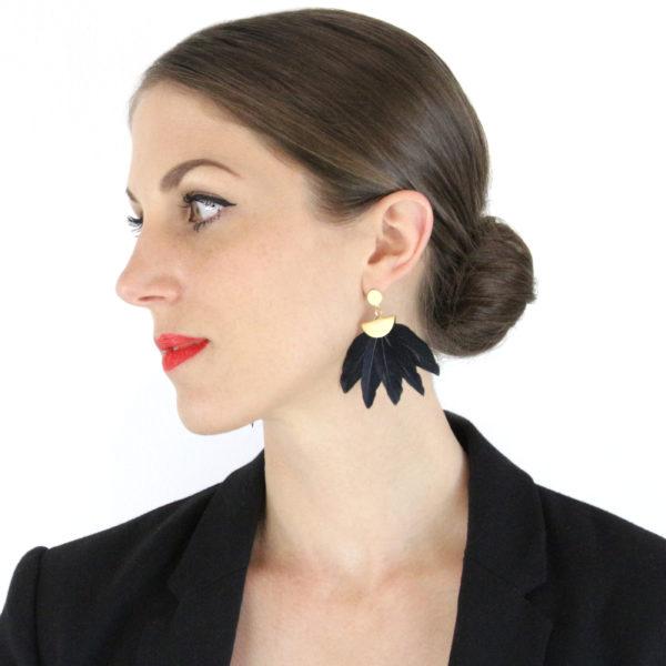 Rockefeller Earrings by Form of Embellishment - Black Feather Fan Statement Earrings with Matte Gold Stud