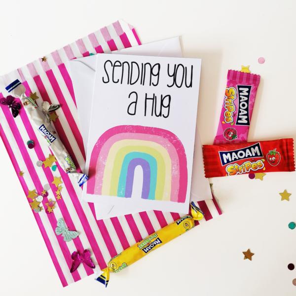Peach and Mimi, Pastel Rainbow Sending a Hug A6 Card with a sweet treat