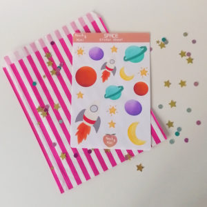 Peach and Mimi, Space Sticker Sheet, Rocket, Stars, Moons and Planets