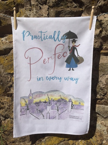 Sister Sister, Practically Perfect in every way Mary Poppins themed 100% Cotton Tea Towel