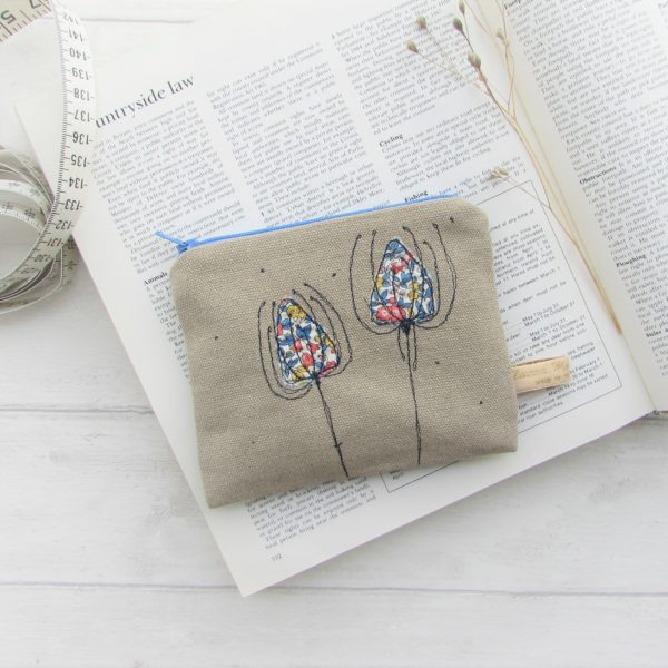 Teasel embroidered coin purse on natural coloured fabric with teasel head in floral liberty print applique - Laced Wing Designs