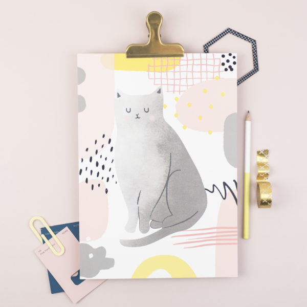 Abstract pattern and cat A4 print