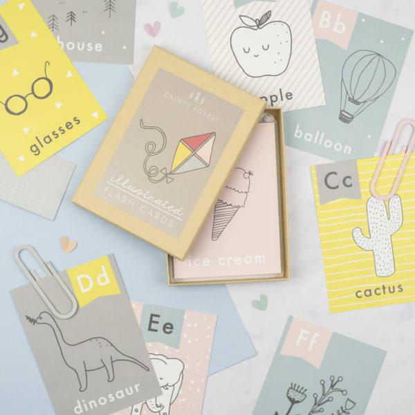 Alphabet illustrated flashcards