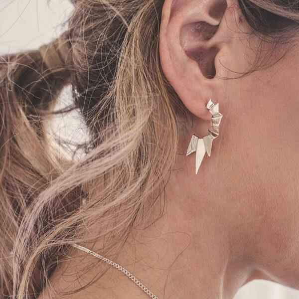 Valley-Half-Hoop-Stud-Earrings