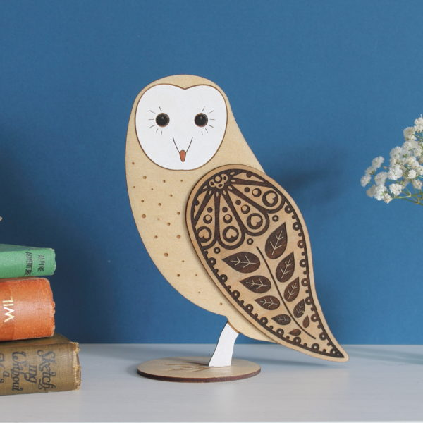 standing wooden barn owl ornament - hand painted