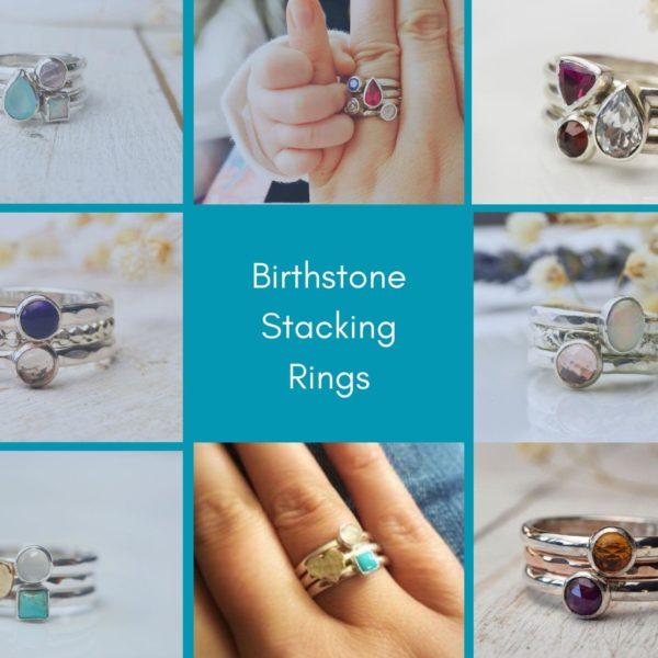 Birthstone stacking rings
