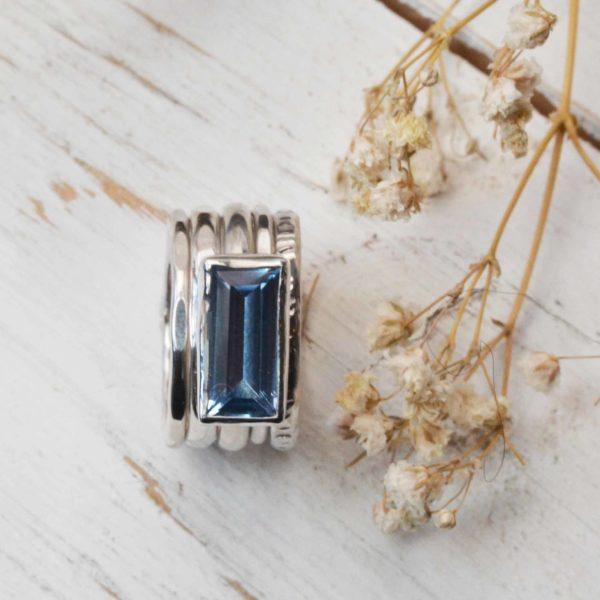 Blue oblong gemstone stacking ring