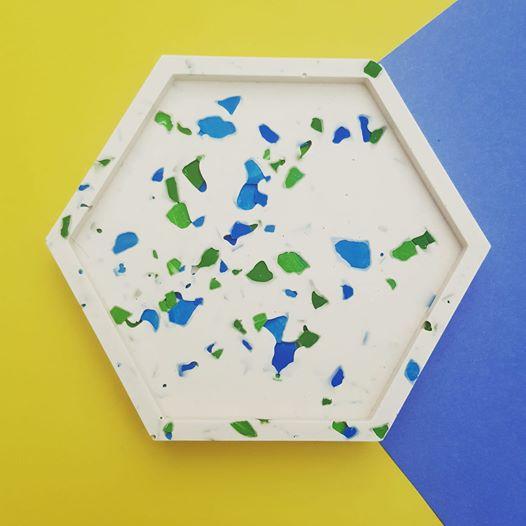 Terrazzo hexagon coaster or trinket tray - Tawking Point