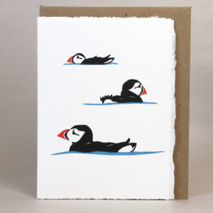 Elly Rowbotham Printmaker, Hand Printed LinoCut Card Puffins