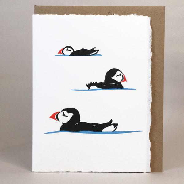 Elly Rowbotham Printmaker, Hand Printed LinoCut Card Puffins