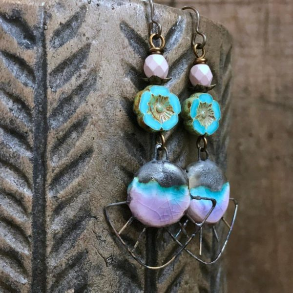 Turquoise & Pink Spiky Ceramic Earrings