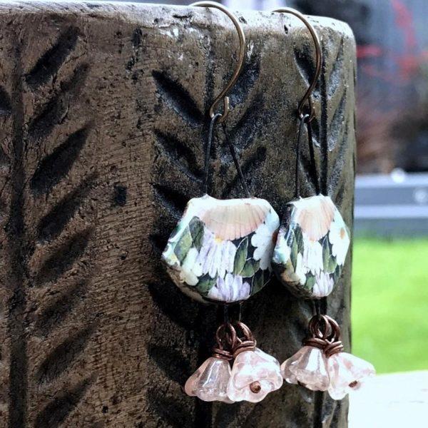 Artisan Ceramic Fan Earrings