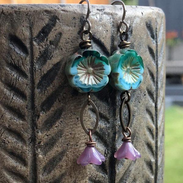 Czech Glass Hawaiian Flower Earrings