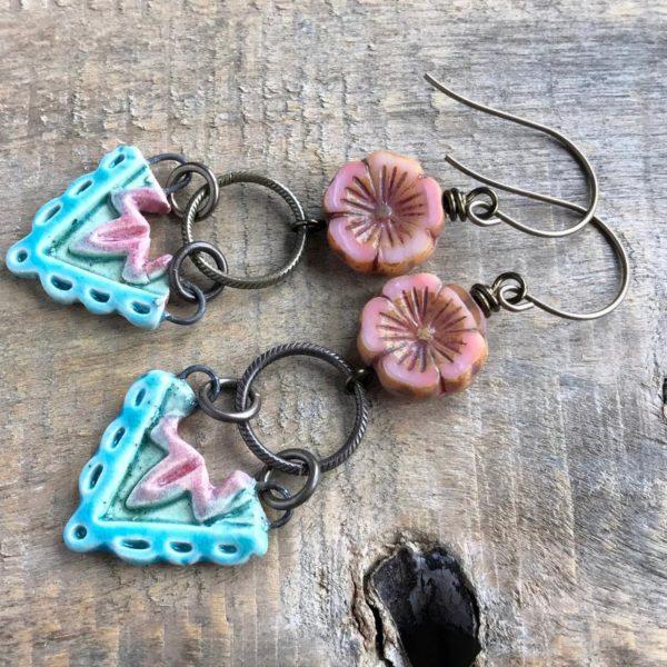 Turquoise & Pink Ceramic Arrow Earrings