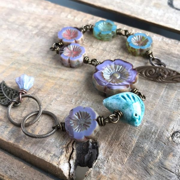 Artisan Ceramic Bird & Glass Flower Bracelet