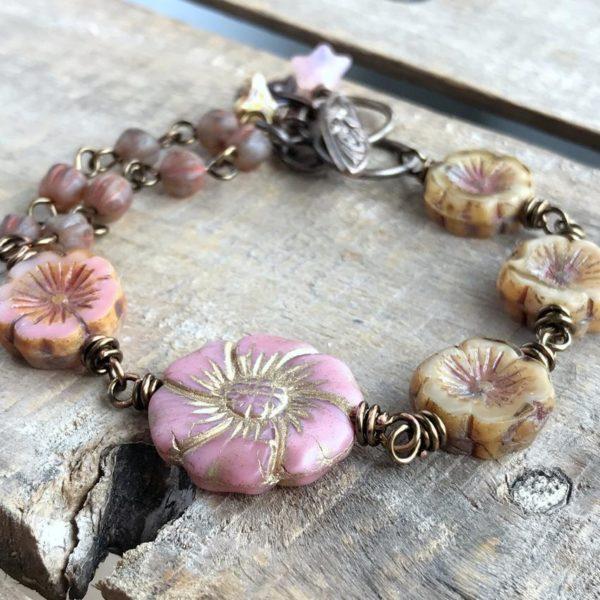 Rustic Pink & Brown Floral Bracelet
