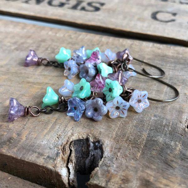 Gill's Handmade Jewels Spring Inspired Glass Flower Cluster Earrings