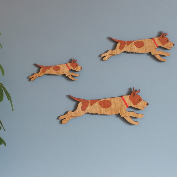 Family of wooden wall Jack Russell Dogs - Flying Duck alternative