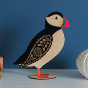 Atlantic Puffin standing wooden decoration - hand painted