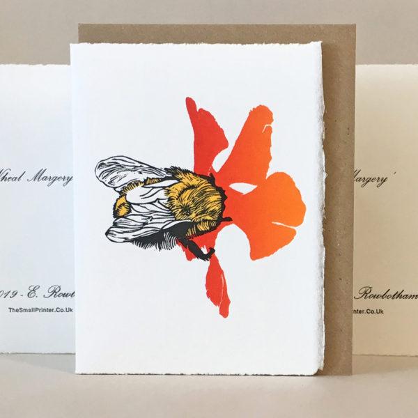 Elly Rowbotham Printmaker, Bee Hand Printed Linocut Card
