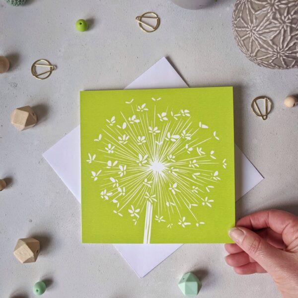 rose and hen, allium card, greetings card