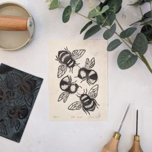 rose and hen, bee print, limited edition linocut bee print