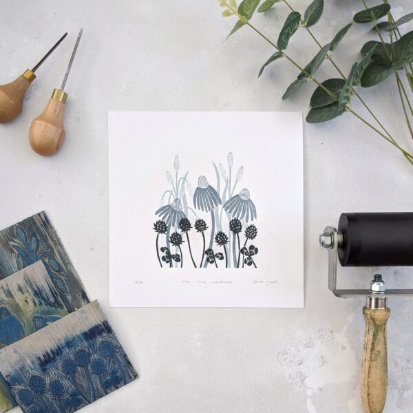 rose and hen, meadow flower print, limited edition linocut print
